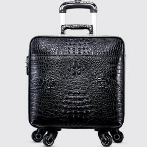 LA-801 政泽妮 鳄鱼皮拉杆箱真皮男旅行箱行李箱登机箱包女万向轮16寸黑