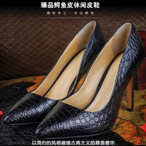 F-B-1102 政泽妮女款 鳄鱼皮正装休闲高跟鞋高档鞋真皮皮鞋