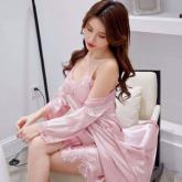 2020新品 AE-003 政泽妮 丝缎睡衣 吊带+睡袍